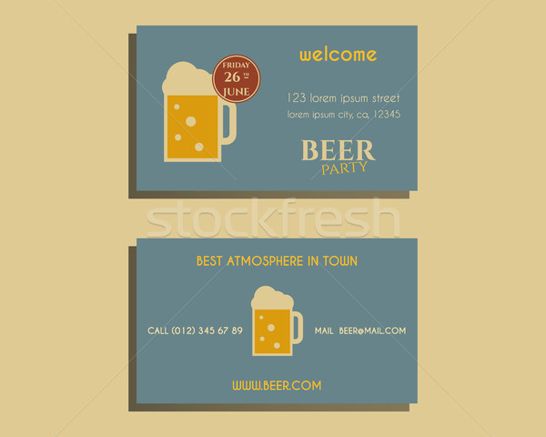 Beer party visiting card template with glass of beer. Vintage design for club, pub or night beer par Stock photo © JeksonGraphics