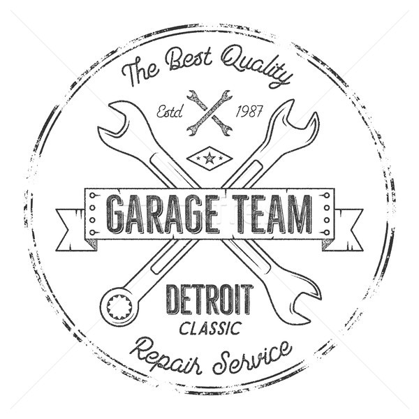 Garage service vintage tee design graphics, Detroit classic, repair service typography print. Black  Stock photo © JeksonGraphics