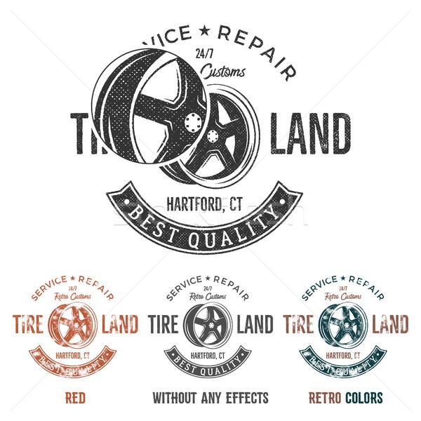 Garage service vintage tee designs graphics, Tire land, repair service typography print. T-shirt sta Stock photo © JeksonGraphics