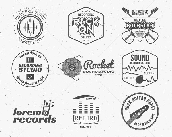 Stock photo: Set of vector music production logo,label, sticker, emblem, print or logotype with elements - guitar
