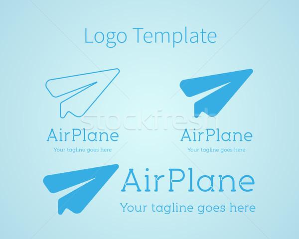 Airplane - vector logo concept. Aircraft illustration. Logo template. Minimal classic style. Airplan Stock photo © JeksonGraphics
