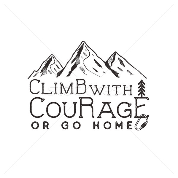 Stock photo: Climbing vintage label design. Hand drawn badge with mountain, climb gear and typography elements. O