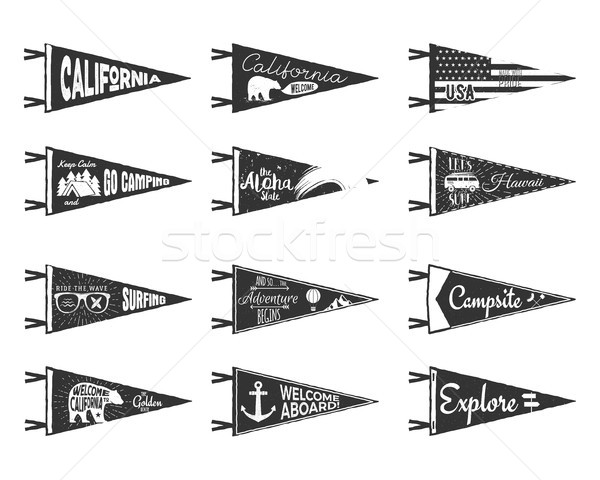 Hand drawn adventure pennants and flags set. Vintage rustic style labels isolated on white. Monochro Stock photo © JeksonGraphics