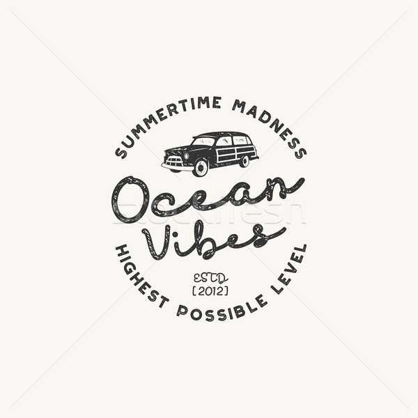 Vintage hand drawn label design. Ocean vibes sign with old retro style surf car. Hipster tee apparel Stock photo © JeksonGraphics