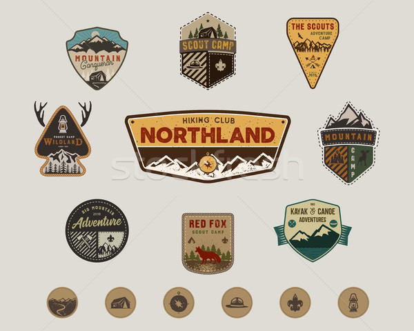 Traveling, outdoor badge collection. Scout camp emblem set and hiking stickers, icons. Vintage hand  Stock photo © JeksonGraphics