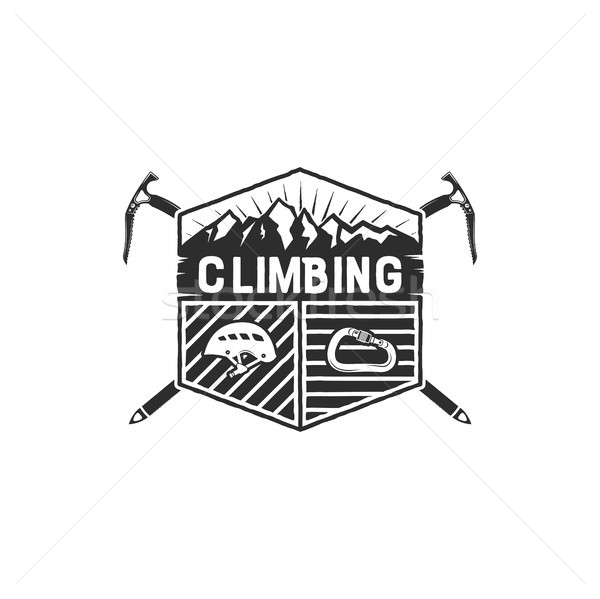 Mountain Adventure, Climbing Vintage Hand Drawn Emblem Template. Outdoor activity sport symbol. Cara Stock photo © JeksonGraphics