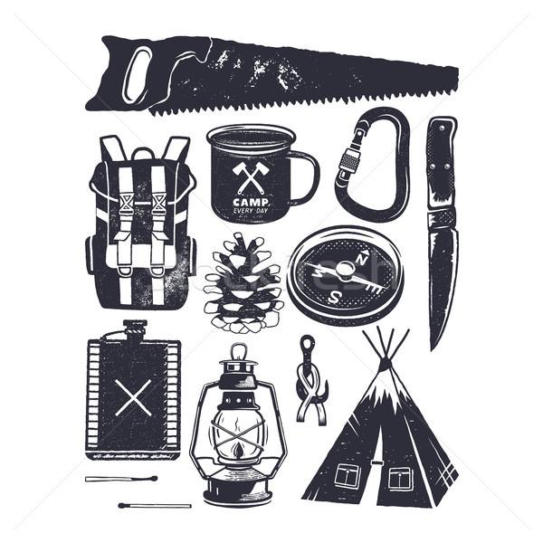 Vintage hand drawn camping symbols. Hiking icons in retro monochrome style. Silhouette mountain adve Stock photo © JeksonGraphics