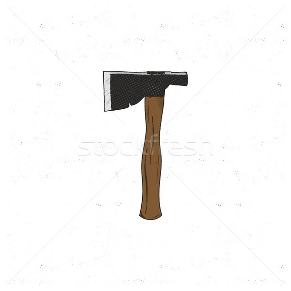 Vintage hand drawn camp axe. Silhouette sketch design. Travel flat icon. Stock vector illustration i Stock photo © JeksonGraphics