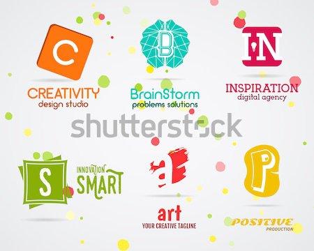 Vektor absztrakt logoterv pozitív gyártás kreatív Stock fotó © JeksonGraphics