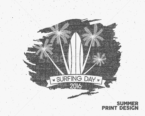Surfing day label graphic elements. Tropical typography emblem on watercolor monochrome background.  Stock photo © JeksonGraphics