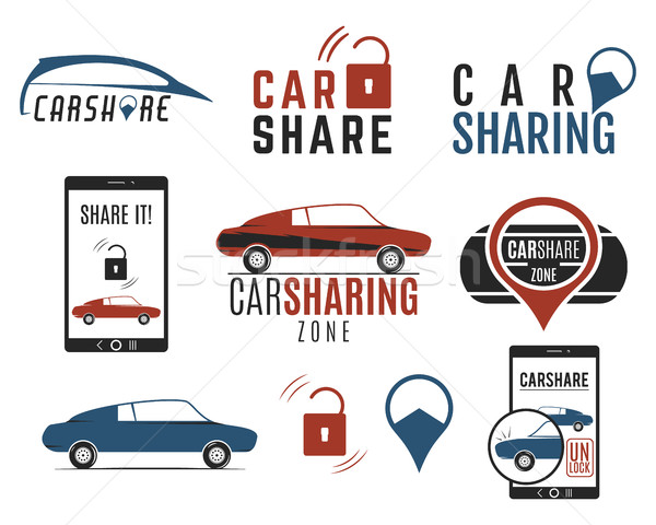 Car share logo designs set. Car Sharing vector concepts. Collective usage of cars via web applicatio Stock photo © JeksonGraphics