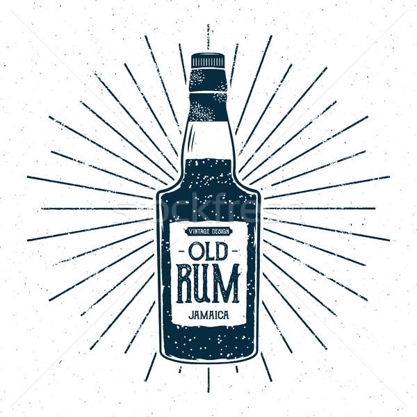 Retro rum üveg címke terv klasszikus Stock fotó © JeksonGraphics