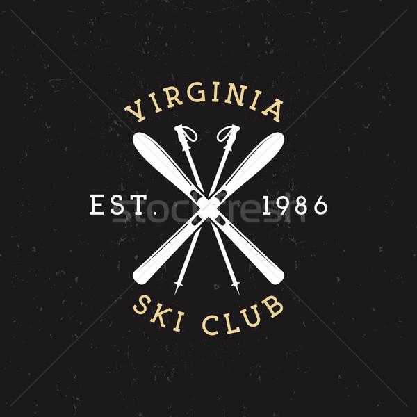 Invierno deportes esquí club etiqueta vintage Foto stock © JeksonGraphics