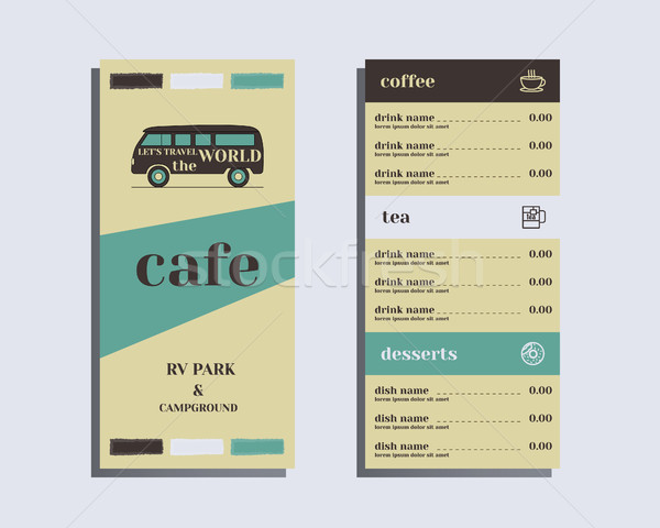 Restaurant and cafe menu. Flat design. Rv park and campground. Retro and Vintage colors design. Isol Stock photo © JeksonGraphics