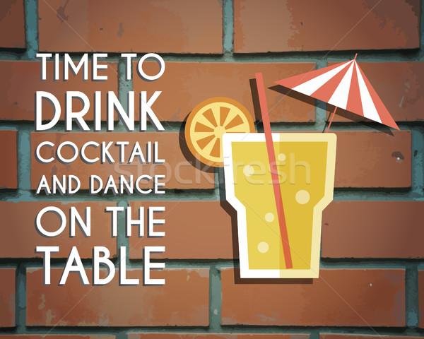 Retro poster ontwerp cocktail salon bar Stockfoto © JeksonGraphics