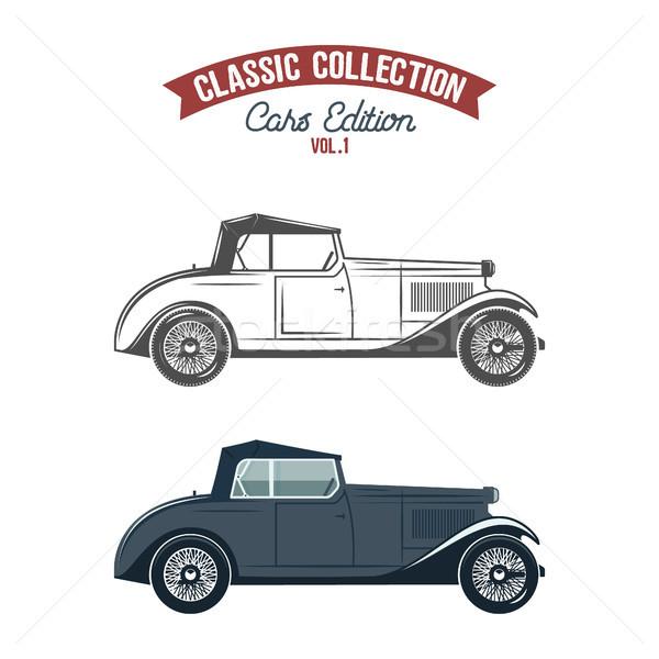 Retro carro ícones símbolos cor monocromático Foto stock © JeksonGraphics