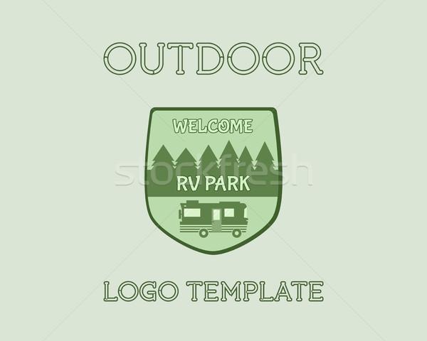 Macera açık turizm seyahat logo bağbozumu Stok fotoğraf © JeksonGraphics