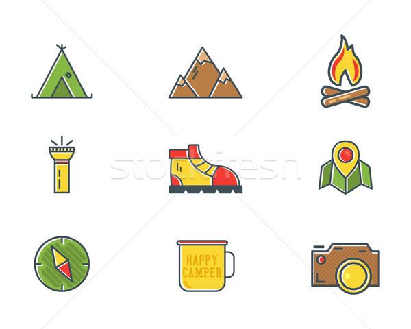 Verão inverno montanha explorador acampamento ícones Foto stock © JeksonGraphics