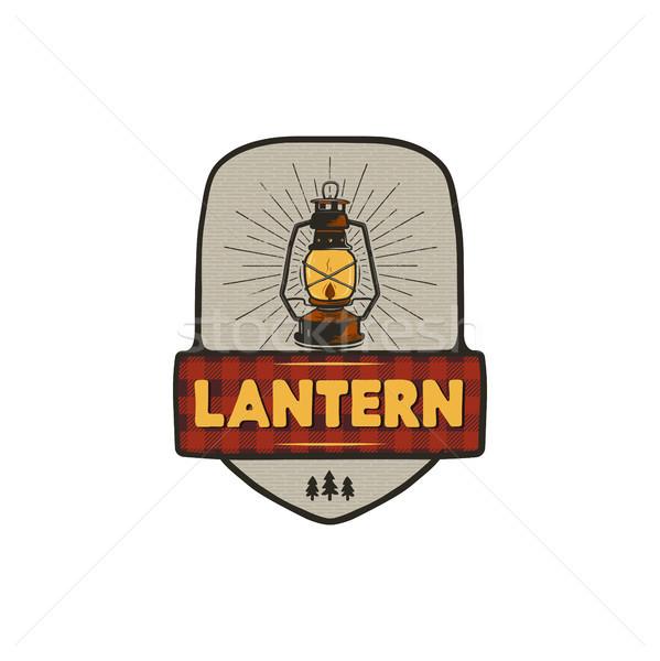 Vintage hand drawn camping logo with lantern. Retro style camping logo. Outdoor adventure badge desi Stock photo © JeksonGraphics