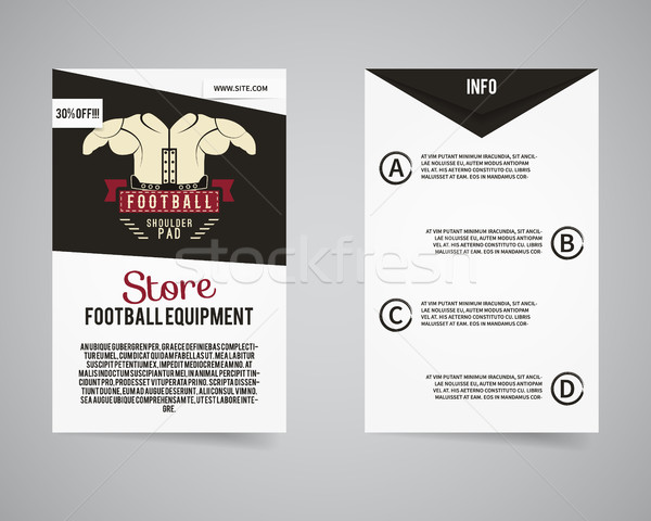 American football equipment store back and front flyer template design. Usa Sport brand identity let Stock photo © JeksonGraphics