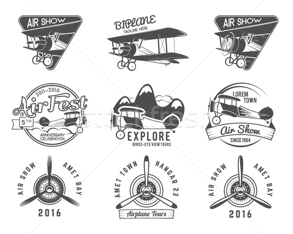 Vintage airplane emblems. Pilot academy. Fly stamp. Retro Plane badges, plane design elements. Aviat Stock photo © JeksonGraphics