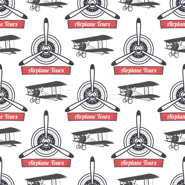 Vintage airplane tour pattern. Biplane propellers seamless background with ribbon, biplanes. Retro P Stock photo © JeksonGraphics