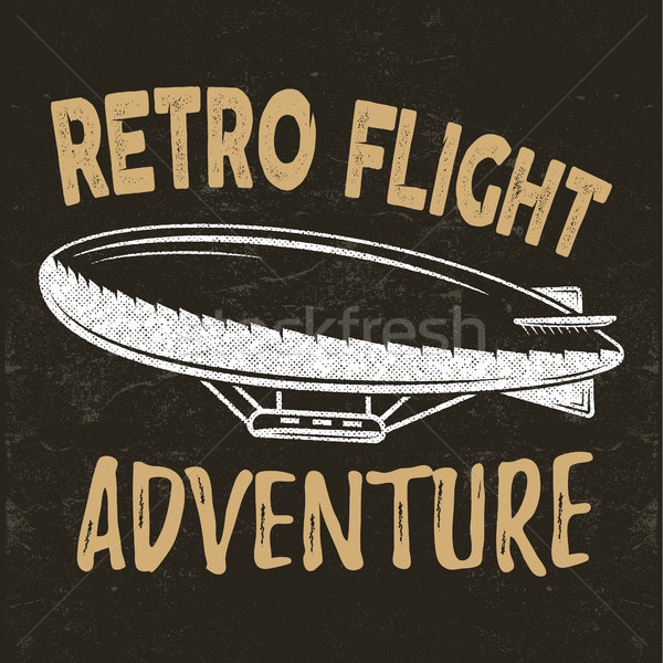 Vector vintage fly print design. Retro flight concept. Airship tee. Dirigible Travel label, logotype Stock photo © JeksonGraphics