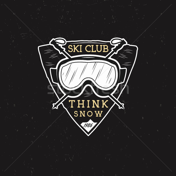 Winter Ski club label design. Sports shield badge with ski equipment goggles and text - think snow.  Stock photo © JeksonGraphics