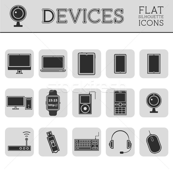 Trendy Silhouette PC, computer, mobile gadgets and device line icons and buttons . Graphic vector sy Stock photo © JeksonGraphics