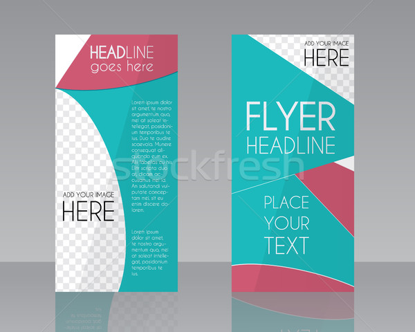 Vector Brochure Flyer design Layout template. Blue and pink stylish colors. Triangle abstract style. Stock photo © JeksonGraphics