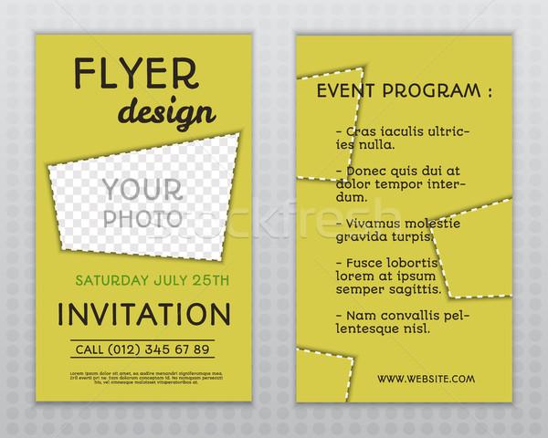 Foto stock: Verano · amarillo · elegante · volante · folleto · invitación