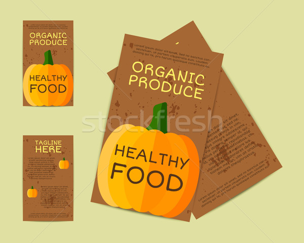 Farm Fresh flyer, template or brochure design with pumpkin. Mock up design with shadow. Vintage colo Stock photo © JeksonGraphics