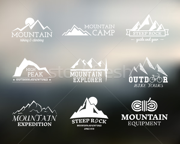 Set of Summer mountain explorer camp badge, logo and label templates. Travel, hiking, climbing style Stock photo © JeksonGraphics