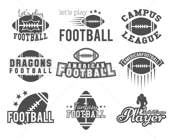 Stock fotó: Főiskola · rögbi · amerikai · futball · csapat · jelvények