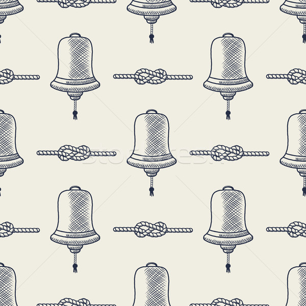 Stock photo: Nautical seamless. Ship bell and rope elements. Sea pattern. Navy   marine knots striped in blue  wh