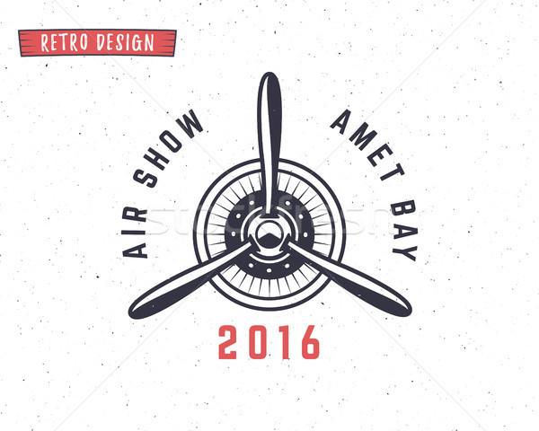 Airplane propeller emblem. Biplane label. Retro Plane badges, design elements. Vintage prints for t  Stock photo © JeksonGraphics
