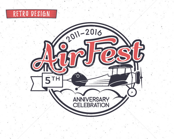 Stock photo: Air fest emblem. Biplane label. Retro Airplane badges, design elements. Vintage prints for t shirt.
