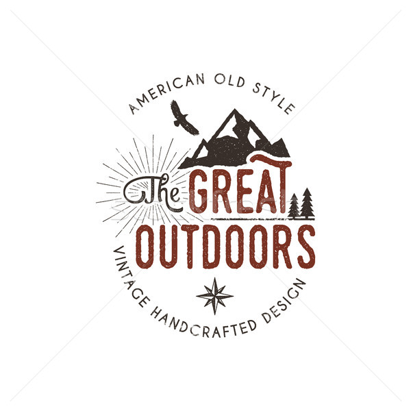 Vintage outdoors label. Retro illustration of wilderness badge. Typography and rough style. Vector a Stock photo © JeksonGraphics