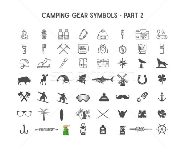 Stock photo: Set of silhouette icons and shapes with different outdoor gear, camping symbols for creating adventu