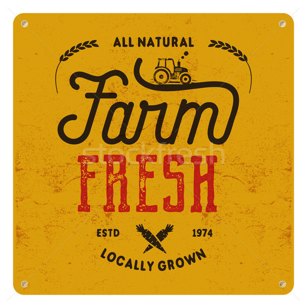 Farm fresh, eco food poster. All natural, locally grown. Local product logo designs Typographic insi Stock photo © JeksonGraphics