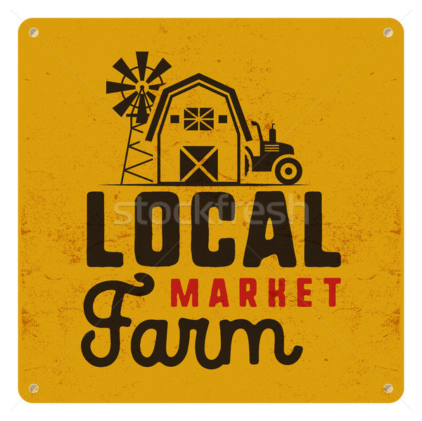 Local farm market poster. Retro design. Included farmer symbols and elements - tractor, windmill, ba Stock photo © JeksonGraphics