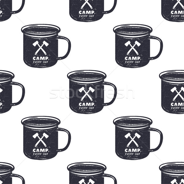 Vintage hand drawn camp mug, pattern design. Camping seamless wallpaper with cup, typography sign. M Stock photo © JeksonGraphics