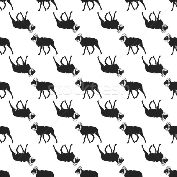 Wild goat pattern. Seamless background illustration with wild animal symbols, elements. Monochrome s Stock photo © JeksonGraphics