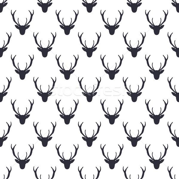 Deer head pattern. Wild animal symbols seamless background. Deers icon. Retro wallpaper. Stock illus Stock photo © JeksonGraphics