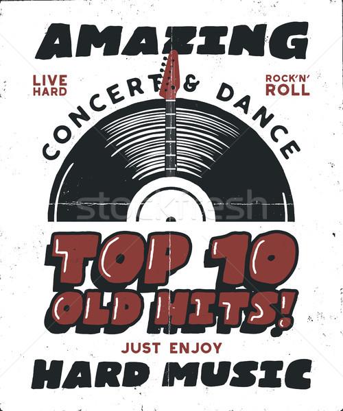 Hard Music Poster. Concert and Festival Tee Graphic Design. Retro music poster, festival invitation. Stock photo © JeksonGraphics