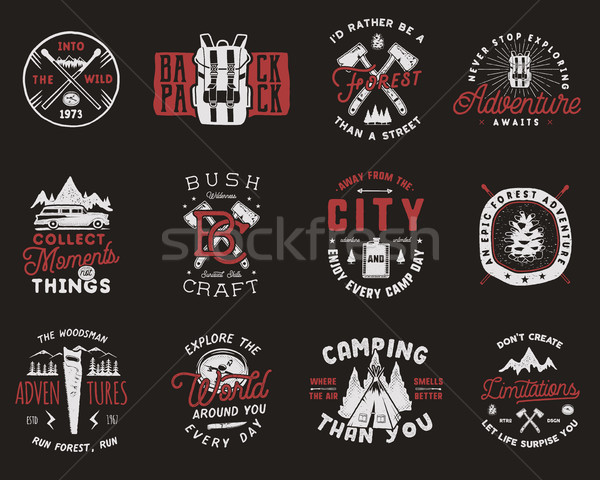 Travel Badges Set. Camping logos with hiking icons and symbols. Vintage adventure emblems collection Stock photo © JeksonGraphics
