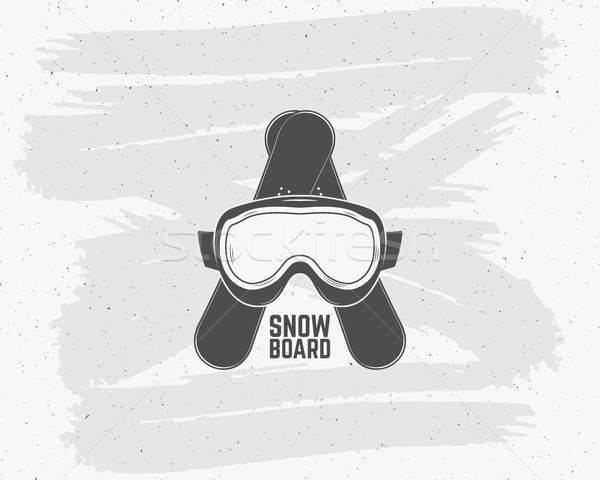 Snowboarding extreme logo, label templates. Winter snowboard sport equipment. Goggles, board Emblem  Stock photo © JeksonGraphics