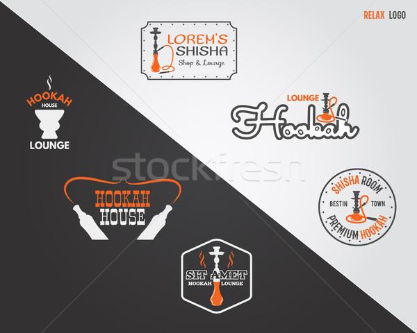 Narguilé détendre étiquettes badges design Photo stock © JeksonGraphics
