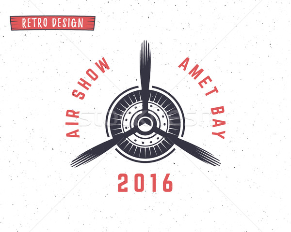 Airplane propeller emblem. Biplane label. Retro Plane badge, design elements. Vintage prints for t s Stock photo © JeksonGraphics