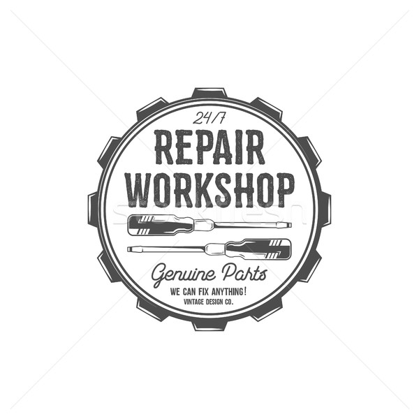 Vintage label design. Repair workshop patch in old style with screwdrivers. Use for station, car ser Stock photo © JeksonGraphics